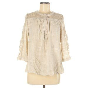 COLDWATER CREEK Beige Lace Insert Tunic Blouse M